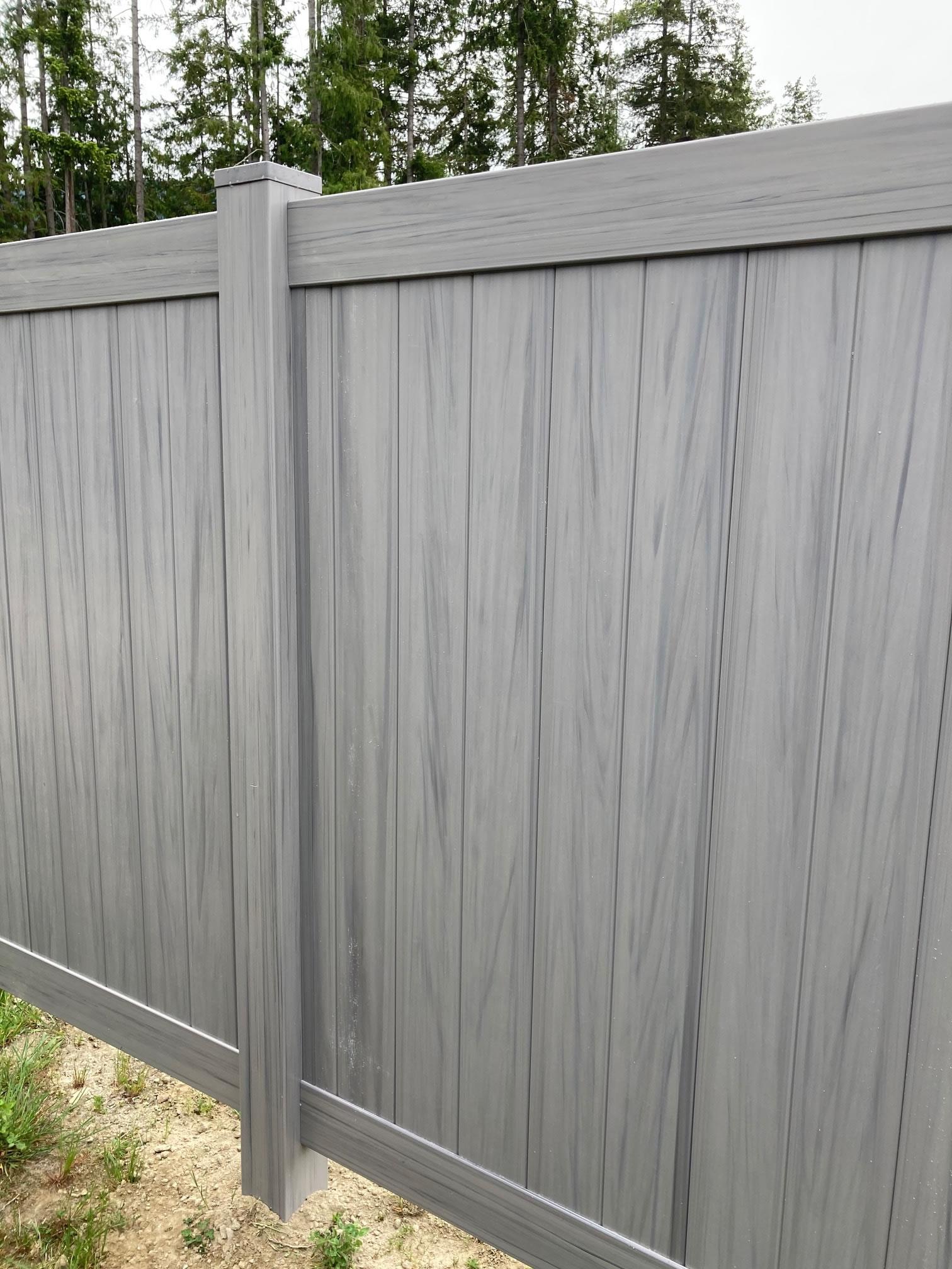 woodgrain vinyl fence